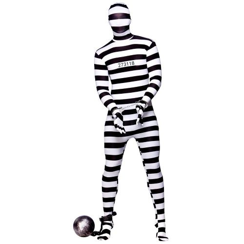 Adult Convict Skinz Costume for Cops Police Robbers Law Fancy Dress Mens Ladies